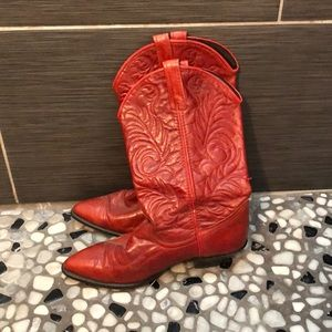 Red acme cowboy boots